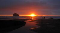 Summer sunset at Trebarwith Strand